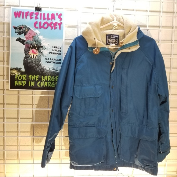 Woolrich Blue Wool-Lined Hooded Jacket Size Large